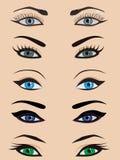 yeux femelles réglés Photographie stock