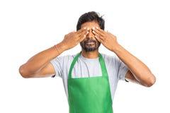 Yeux indiens de bâche des employés avec des mains images libres de droits