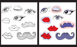 Yeux, lèvres et moustache de bande dessinée Photographie stock libre de droits