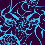 Yeux mystérieux avec la découpe bleue sur Violet Background Photos stock