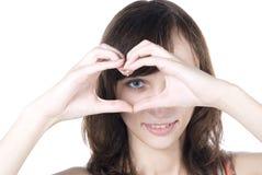 Yeux ronds de coeur Photo stock