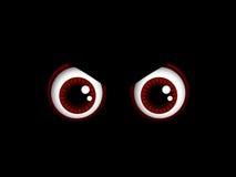 Yeux rouges effrayants de Halloween d'isolement au-dessus du noir Photo libre de droits