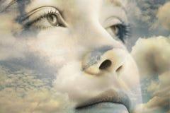 Yeux sauvages en ciel photo libre de droits
