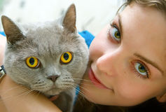 Yeux verts et yeux oranges Photo libre de droits