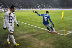Yevgen Konoplyanka kicks a ball from the corner Stock Photography