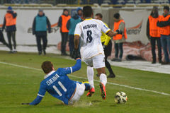 Yevgen Seleznyov makes the tackle from behind Royalty Free Stock Images