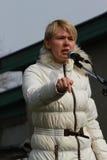 Yevgeniya Chirikova. Environmental rally in Tomilino. TOMILINO, MOSCOW REGION, RUSSIA - 23 March 2014: Environmental rally of the initiative groups of Moscow Royalty Free Stock Photos