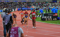 Yevgeniya Subbotina and Chanelle Price on the 800 meters race Royalty Free Stock Photography