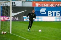 Yevgeny Frolov Goalkeeper (1) på uppvärmningen Royaltyfri Fotografi