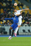 Yevhen Khacheridi and Romelu Lukaku fighting for ball in air, UEFA Europa League Round of 16 second leg match between Dynamo and E. KYIV, UKRAINE - MARCH 19 Stock Photography
