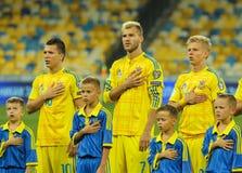 Yevhen Konoplyanka, Andriy Yarmolenko e Oleksandr Zinchenko imagens de stock royalty free