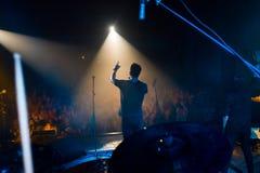 Yevhen Tolochnyy, piosenkarz wystrzał grupa Skryabin przy Andriy Kuzmenko uznania koncertem, Vinnytsia, Ukraina, 10 06 2016, reda Obrazy Royalty Free