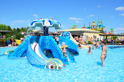 Yevpatoria, Κριμαία, 06 Ιουλίου, 2016 Δημοκρατία ` σε Evpatoria, ο μεγαλύτερος μπανανών Aquapark ` στην Κριμαία Στοκ Εικόνες