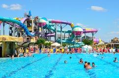 Yevpatoria, Κριμαία, 06 Ιουλίου, 2016 Δημοκρατία ` σε Evpatoria, ο μεγαλύτερος μπανανών Aquapark ` στην Κριμαία Στοκ εικόνα με δικαίωμα ελεύθερης χρήσης