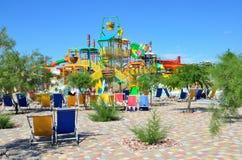 Yevpatoria, Κριμαία, 06 Ιουλίου, 2016 Δημοκρατία ` σε Yevpatoria, ο μεγαλύτερος μπανανών Aquapark ` στην Κριμαία Στοκ Φωτογραφία