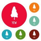 Yew tree icons circle set vector. Isolated on white background Stock Photo