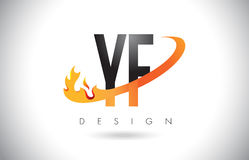 YF Y F Letter Logo with Fire Flames Design and Orange Swoosh. Stock Photos