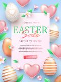 Easter Sale banner design with rose gold ornate eggs, helium shining light pink balloons, spring blossoms and light green leaves. Holiday Easter background stock illustration