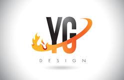 YG Y G Letter Logo with Fire Flames Design and Orange Swoosh. YG Y G Letter Logo Design with Fire Flames and Orange Swoosh Vector Illustration Stock Photos