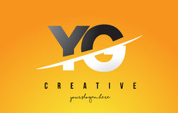 YG Y G Letter Modern Logo Design with Yellow Background and Swoo. YG Y G Letter Modern Logo Design with Swoosh Cutting the Middle Letters and Yellow Background Stock Images