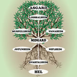 Yggdrasil – vector World tree from Scandinavian mythology. Ash with green leaves and deep-reaching roots is a symbol of the universe. The Vikings believed that Royalty Free Stock Photography