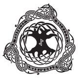 yggdrasil Projeto escandinavo A árvore Yggdrasil no teste padrão nórdico ilustração royalty free