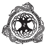 yggdrasil Skandinavischer Entwurf Der Baum Yggdrasil im nordischen Muster lizenzfreie abbildung