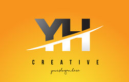 YH Y H Letter Modern Logo Design with Yellow Background and Swoo Stock Photos
