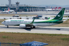 YI-ASR Iraqi Airways, Boeing 737-81Z. YI-ASR is rolling for take-off on runway 35L at Istanbul Ataturk Airport LTBA , June 20 , 2015 royalty free stock photo