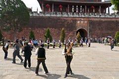 Yi Minority Group Dancers in Weishan Stock Photography