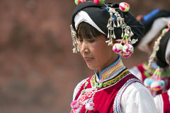 Yi Minority Woman in Traditional Clothes Stock Photography
