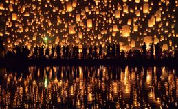 Yi Peng festival Chiang Mai, Thailand royaltyfria foton