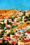Yialos-Dorf, Symi-Insel lizenzfreie stockfotografie