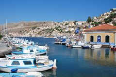 Yialos harbour, Symi island Royalty Free Stock Photos