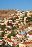 Yialos, Symi island. Looking down over the neoclassical buildings at Yialos on the Greek island of Symi Stock Images