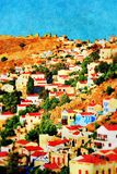 Yialos wioska, Symi wyspa fotografia royalty free