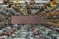 Yickvet die anders geroepen Concrete die wildernis bouwen in Hong Kong wordt gevestigd die één van dicht bevolkte menselijke rege royalty-vrije stock afbeelding