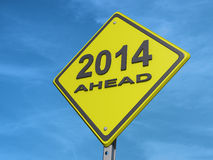 Yield 2014. A yield road sign with 2014 ahead Stock Image