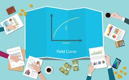 Yield curve with team working together on the table vector vector illustration