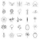 Yield icons set, outline style. Yield icons set. Outline set of 25 yield vector icons for web isolated on white background Royalty Free Stock Image