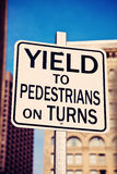 Yield on pedestrians on turns Royalty Free Stock Photos