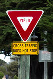 Yield Sign. Cross Traffic Does Not Stop Road Sign stock photos
