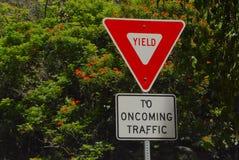 Yield Sign. At a one-land bridge on the Big Island of Hawaii stock photos