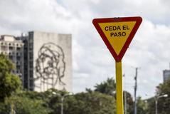 Yield sign at Plaza de la Revolucion in Havana, Cuba Royalty Free Stock Photography