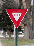 Yield street sign. In the suburbs stock photography