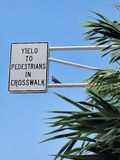 Yield to pedestrian Stock Photo