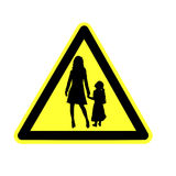 Yield to pedestrian sign Stock Photo