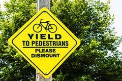 Yield to pedestrians Royalty Free Stock Photos