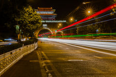 Yifenglou Tower at night in Nanjing Stock Photography