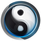 Yig and yang religion icon in shiny glass circle button vector. Illustration Royalty Free Stock Photo